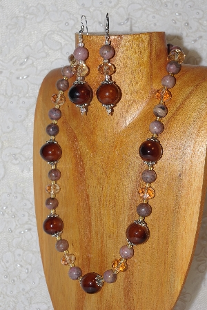 "MBAHB #033-259  ""Brown Porcelain & Mixed Bead Necklace & Earring Set"""