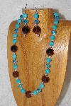 "MBAHB #033-249  ""Brown Porcelain & Mixed Bead Necklace & Earring Set"""