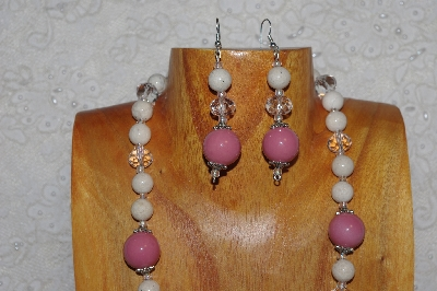 "MBAHB #033-245  ""Pink Porcelain & Mixed Bead Necklace & Earring Set"""