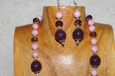"MBAHB #033-240  ""Purple Porcelain & Mixed Bead Necklace & Earring Set"""