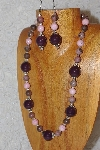 "MBAHB #033-235  ""Purple Porcelain & Mixed Bead Necklace & Earring Set"""