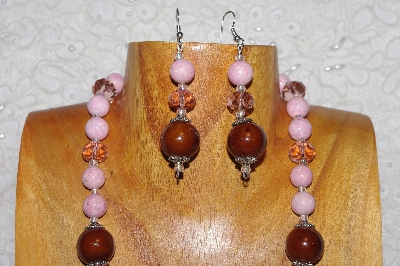 "MBAHB #033-230  ""Brown Porcelain & Mixed Bead Necklace & Earring Set"""