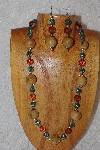 "MBAHB #033-209  ""Honey Porcelain & Mixed Bead Necklace & Earring Set"""