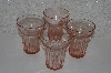 "**MBA #524-0048  ""Vintage Set Of 4 Queen Mary Pink Glass's"""