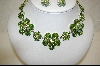 "**MBA #SS-PNE  ""Suzanne Somers Peridot Crystal Flower Necklace With Matching Earrings"