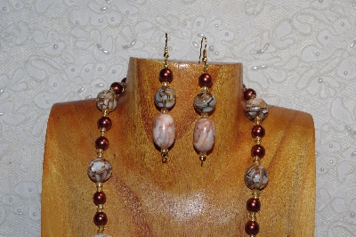 "MBAHB #312-0001  ""Redline Marble & Mixed Bead Necklace"""