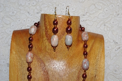 "MBAHB #312-0005 ""Redline Marble & Mixed Bead Necklace"""