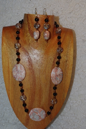 "MBAHB #312-0009  ""Redline Marble & Mixed Bead Necklace"""