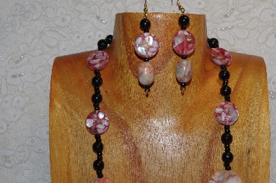 "MBAHB #312-0026  ""Redline Marble & Mixed Bead Necklace"""