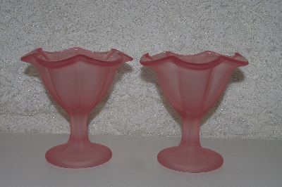 "**MBAMG #108-0031  ""Set Of 2 Frosted Pink Glass Stemed Dishes"""
