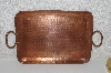 "MBAMG #108-0152  ""Vintage Hammered Solid Copper Rectangle Serving Tray"""