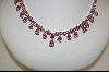 "MBA #PCZ-PCN  ""Pink CZ Pear Cut Sterling Necklace With Matching Pierced Earrings"