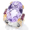 "**MBA #132-594  ""22CT  Checkerboard Pink Amethyst & Rhodolite Ring"""