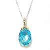 "**  MBA #134280  ""30.06 CTW Oval Swiss Blue Topaz Pendant With 18"" Chain"
