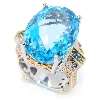 "**MBA #134308  ""30.96 CTW Oval Swiss Blue & London Blue Topaz Ring"""
