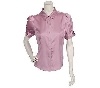 "**MBACF #598-0080  ""Dialouge Stretch Silk Satin Polka Dot Blouse"