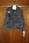 "**MBACF #598-0025  ""Levi's 593 Oversized Whitewashed Black Denim Jacket"""