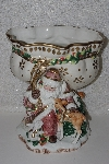 "+MBACF #00010-0014  ""1990's Fitz & Floyd Snowy Woods Footed Ceramic Christmas  Compote"""