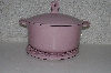 "**MBAAF #0013- 0129  ""2006 Pink Technique  Porcelain Cast Iron Dutch Oven"""