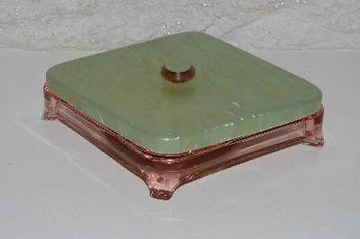 "**MBAAF #0013-0086  ""Vintage Pink Glass Manicure Dish With Lid"""
