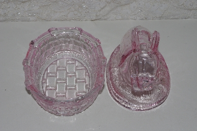 "**MBAAF #0013-0152  ""Light Pink Glass Bunny  Candy Dish"""