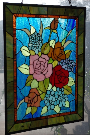 "MBACF #DVD-0126  ""Tiffany Style Rose Stained Glass Window Panel"""
