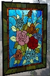 "+MBACF #DVD-0126  ""2003 Tiffany Style Rose Stained Glass Window Panel"""
