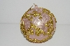 "MBA #S29-227  ""Set Of 6 Large Fancy Pink & Gold Filigree Christmas Ornaments"""