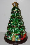 "+MBA #S30-047  ""2004 Thomas Pacconi 16"" Hand Blown Glass Table Top Christmas Tree"""