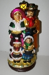 """SOLD""   MBA #S29-039  ""2004 Thomas Pacconi Large Hand Blown Glass Victorial Style Table Top Christmas Carolers"""
