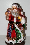 "+MBA #S30-039  ""2004 Thomas Pacconi 2 Piece 16"" Victorian Hand Blown Glass Tabletop Santa & Elf"""