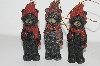 "+MBA #S29-126  ""Set Of 6 Black Bears With Red Bird Ornaments"""