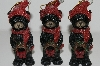 "+MBA #S29-124 ""Set Of 6 Black Bears With Wreaths Ornaments"""