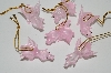 "+MBA 9-112  ""Set Of 6 Hand made Pink Glass Flying Pig Ornaments"""