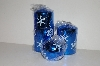 "+MBA #S30-352  ""Set Of 3 Blue Shimmering Snowflake Candles"""