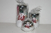 "MBA #S30-357  ""Set Of 3 Silver Shimmering Snowman Holiday Candles"""