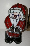 "+MBA #S30-016  ""2004 Tiffany Style Red, White & Black **Stained Glass Santa Accent  Table lamp"""