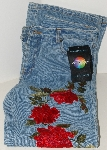 """SOLD""    MBAJ #502-0050  ""2005 Jeanology Boot Cut Rose Embroidered Jeans"""