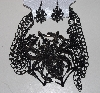 "MBAM #421-0104  ""Large 4 Strand Black Metal  Spider Necklace & Matching Earring Set"""