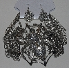 "MBAM #421-0102  ""Large 4 Strand Silver Tone Spider Necklace & Matching Earring Set"""