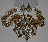 "MBAM #421-0092  ""Large Gold Tone Metal 4 Strand Spider Necklace & Earring Set"""