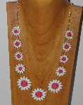 "MBAM #421-098  ""GoldTone White & Coral Flower Necklace"""