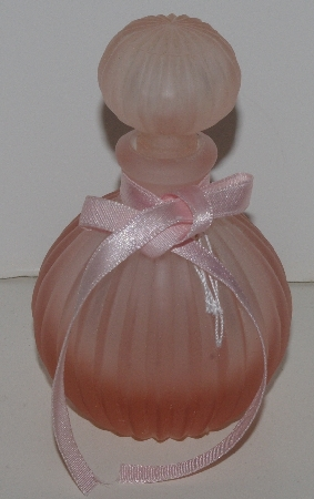 "MBAM #421-0069  ""Small Enesco Pink Frosted Glass Perfume Bottle With Glass Stopper"""