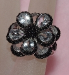 "MBAJ1-0076  ""Gem Treasures White Topaz Black Dahlia Ring"""