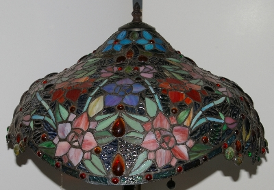 "Lamps #0018  ""Beautiful Tiffany Style Floral Peacock Base Stained Glass Lamp"""