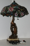 "+Lamps #0018  ""2004 Beautiful Tiffany Style Floral Peacock Base Stained Glass Lamp"""