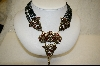 """SOLD""   Heidi Daus Black Metalic Bead And Swaroviski Crystal Necklace"