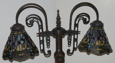"Lamps #0025  ""Tiffany Style Stained Glass Mosiac Dragonfly Gooseneck Table Lamp"""