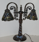 "+Lamps #0025  ""2004 Tiffany Style Stained Glass Mosiac Dragonfly Gooseneck Table Lamp"""