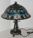 "+Lamps #0020  ""2004 Tiffancy Style Dragonfly & Water Lilly Table Lamp"""